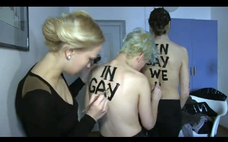 FEMEN activists get ready for their protest of the Pope