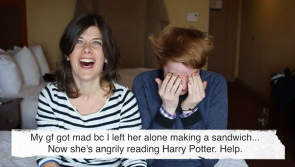 My gf got mad bc I left her alone making a sandwich... Now she's angrily reading Harry Potter. Help. (Kristin and Danielle laughing)