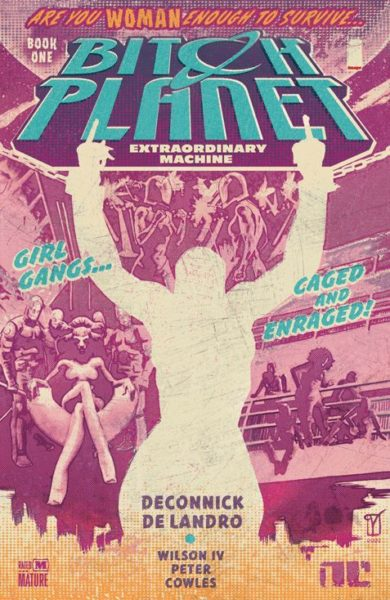 A pink comic book cover with the sketched outline of a feminine figure holding their hands above their head and waving two middle fingers. Blue text across the top reads BITCH PLANET.