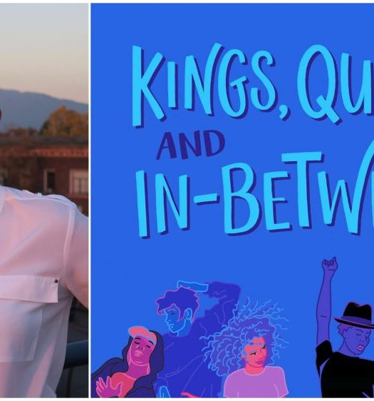Two images: the first is a book cover of Kings, Queens and In-Betweens with a diverse group of people jumping and dancing. The second is a photo of Tanya Boteju in a white shirt and very short dark hair, smiling.