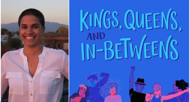 Two images: the first is a book cover of Kings, Queens and In-Betweens with a diverse group of people jumping and dancing.The second is a photo of Tanya Boteju in a white shirt and very short dark hair, smiling.