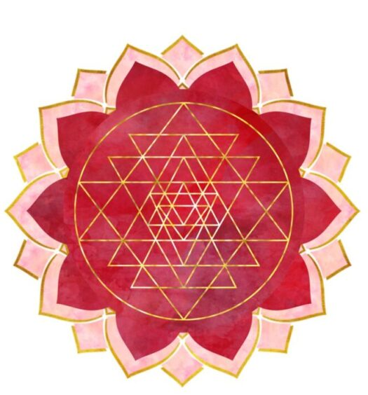 Rosie Bitts' logo is a red, gold, and pink abstracted lotus flower designed to look as though you are looking down on it. The gold pattern in the center is a series of intersecting triangles inside a circle.